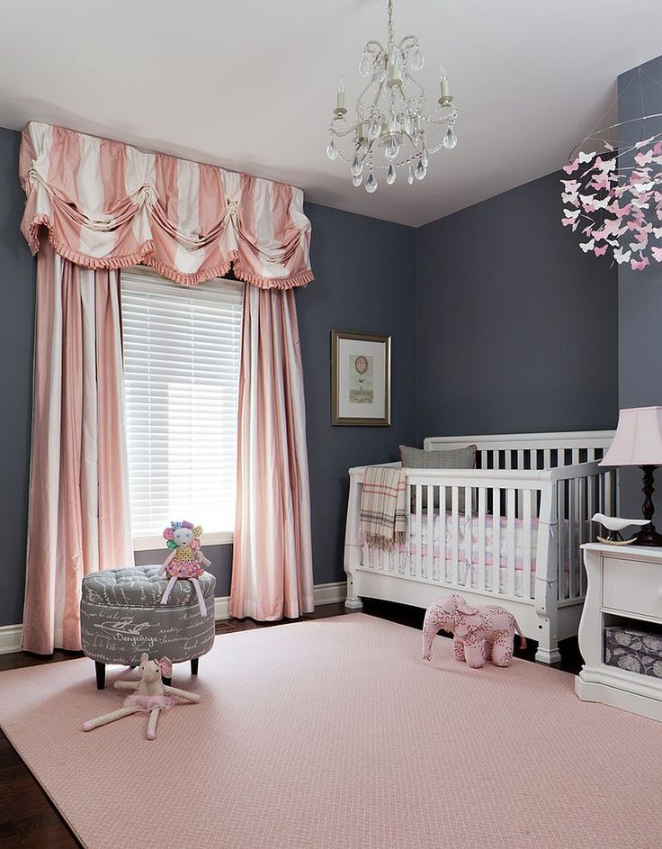 baby nursery striped drapes in pink and white enliven traditional nursery in gray  [design: RCPZZOJ
